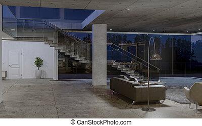 側視圖, ......的, 玻璃, 樓梯