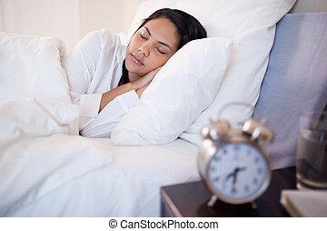側視圖, ......的, 睡覺, 婦女