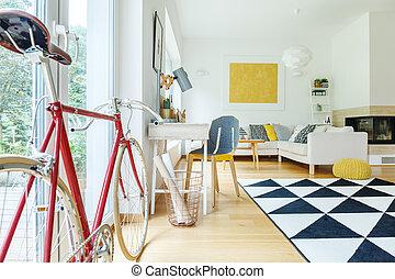 側視圖, ......的, 紅的自行車