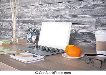 側視圖, ......的, 辦公室, 桌面