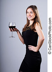 側視圖, ......的, a, 年輕婦女, 由于, 紅的酒