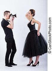 側視圖, ......的, a, 攝影師, 以及, 女性, 模型