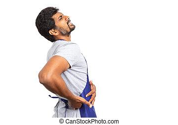側面図, の, スーパーマーケット, 従業員, ∥で∥, 側面, 背中の痛み