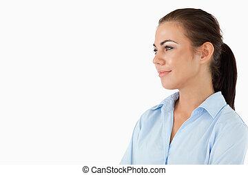 側, 微笑, 光景, 女性実業家