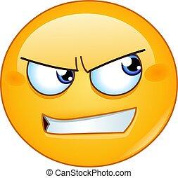 側, 怒る, 見る, emoticon
