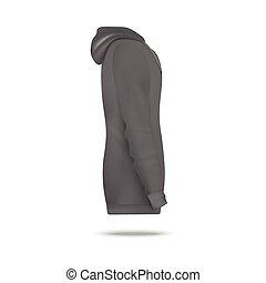 側, 現実的, 灰色, ベクトル, sweatshirt, イラスト, isolated., 光景, hoodie, mockup