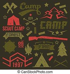 偵察者, キャンプ, バッジ