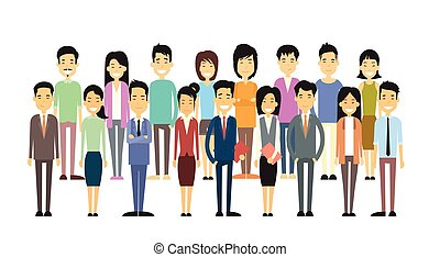 偶然, グループ, アジアのビジネス, 人々
