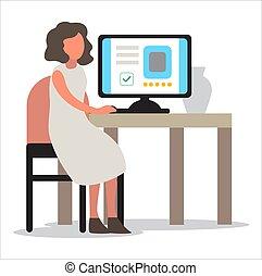 偶然, コンピュータ, 机, モデル, 痛みなさい, 働く女性