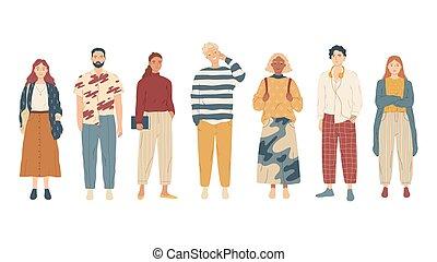 偶然, 人々, グループ, 若い, clothes.
