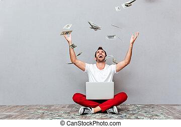 偶然, 人間が座る, 床, ∥で∥, 雨, の, お金