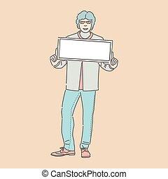 偶然, 人, illustration., ベクトル, 保有物, 衣服, プラカード, 微笑, 若い