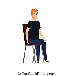 偶然, 椅子, 人, 若い, モデル