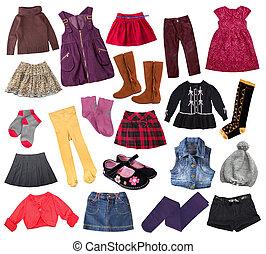偶然, collage., 子供, 服装, 衣服