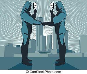 偽善的, 握手, の, ビジネスマン