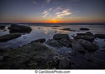 傍晚, 在上方, 平靜, 海洋