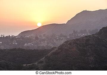 傍晚, 在, 好萊塢, 山