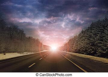 傍晚, 地平線, 背景, 高速公路