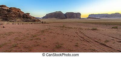 傍晚, 沙漠, 約旦, 干涸河道, 甘蔗酒