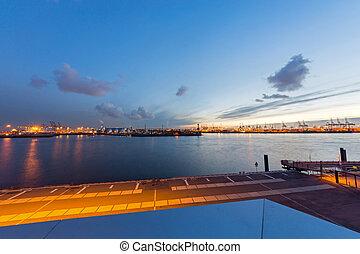 傍晚, 港口, 漢堡