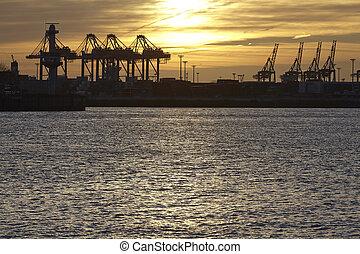 傍晚, -, 港口, 漢堡