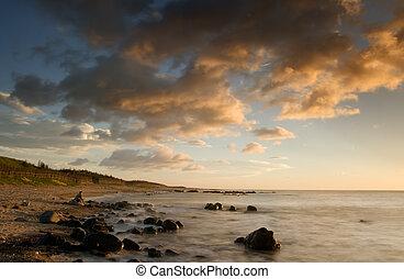 傍晚, ......的, 珊瑚礁, 海岸線