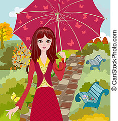 傘を持つ女の子, 中に, 秋, 公園