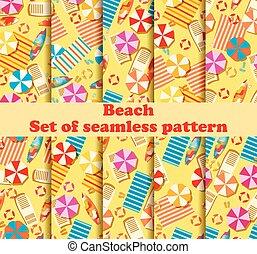 傘, サーフボード, セット, vacation., パターン, seamless, フリップフロップ, ラウンジ, ベクトル, bedspreads., イラスト, chaise, 浜