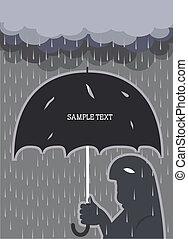 傘, テキスト, 雨, 壊される, 背景, .vector, 人