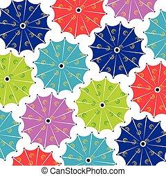 傘, パターン, -, ベクトル, 背景, seamless, 多色刷り