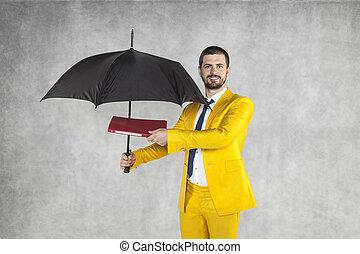 傘, ブリーフケース, ∥守る∥, 下に, ビジネスマン, データ