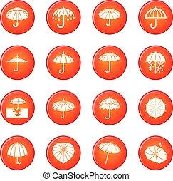 傘, ベクトル, セット, 赤, アイコン