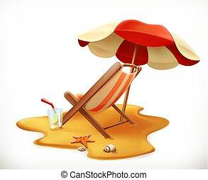 傘, ラウンジ, ベクトル, 椅子, 3d, 浜, アイコン