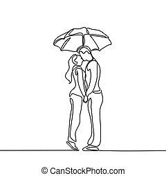 傘, ロマンチックな カップル, 若い, 下に, 接吻