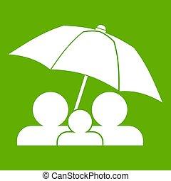 傘, 下に, 緑, 家族, アイコン