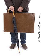 傘, 人, 古い, スーツケース