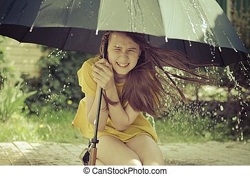 傘, 公園, 嵐, 下に, の間, 女の子