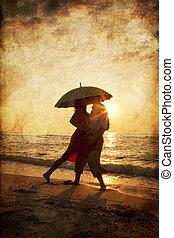 傘, 写真, 恋人, イメージ, 下に, 古い, sunset., 浜, style., 接吻
