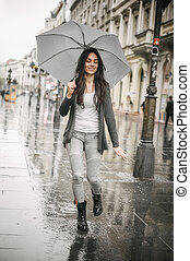 傘, 女, ダンス, 水たまり, 雨, はね返し