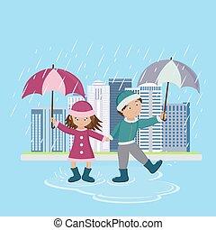 傘, 子供, 雨