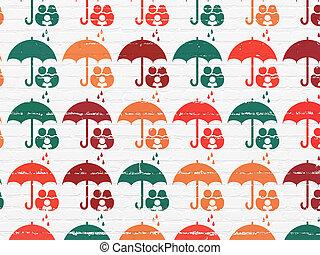 傘, 家族, アイコン, 壁, 保護, 背景, concept: