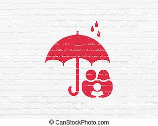 傘, 家族, プライバシー, 壁, 背景, concept: