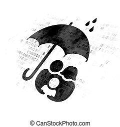 傘, 家族, 保護, 背景, デジタル, concept: