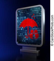 傘, 家族, 保護, 背景, 広告板, concept: