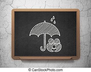 傘, 家族, 保護, 黒板, 背景, concept: