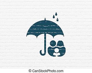 傘, 家族, 壁, 保護, 背景, concept: