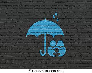 傘, 家族, 壁, 安全, 背景, concept: