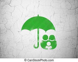 傘, 家族, 壁, 背景, セキュリティー, concept: