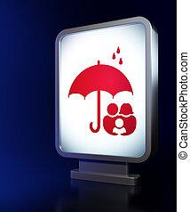 傘, 家族, 安全, 背景, 広告板, concept: