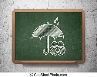 傘, 家族, 安全, 黒板, 背景, concept: